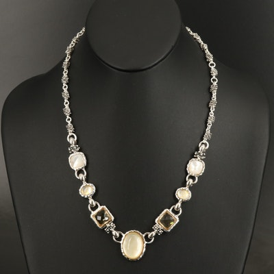 Michael Dawkins Sterling Necklace with Quartz and Mother of Pearl Doublet