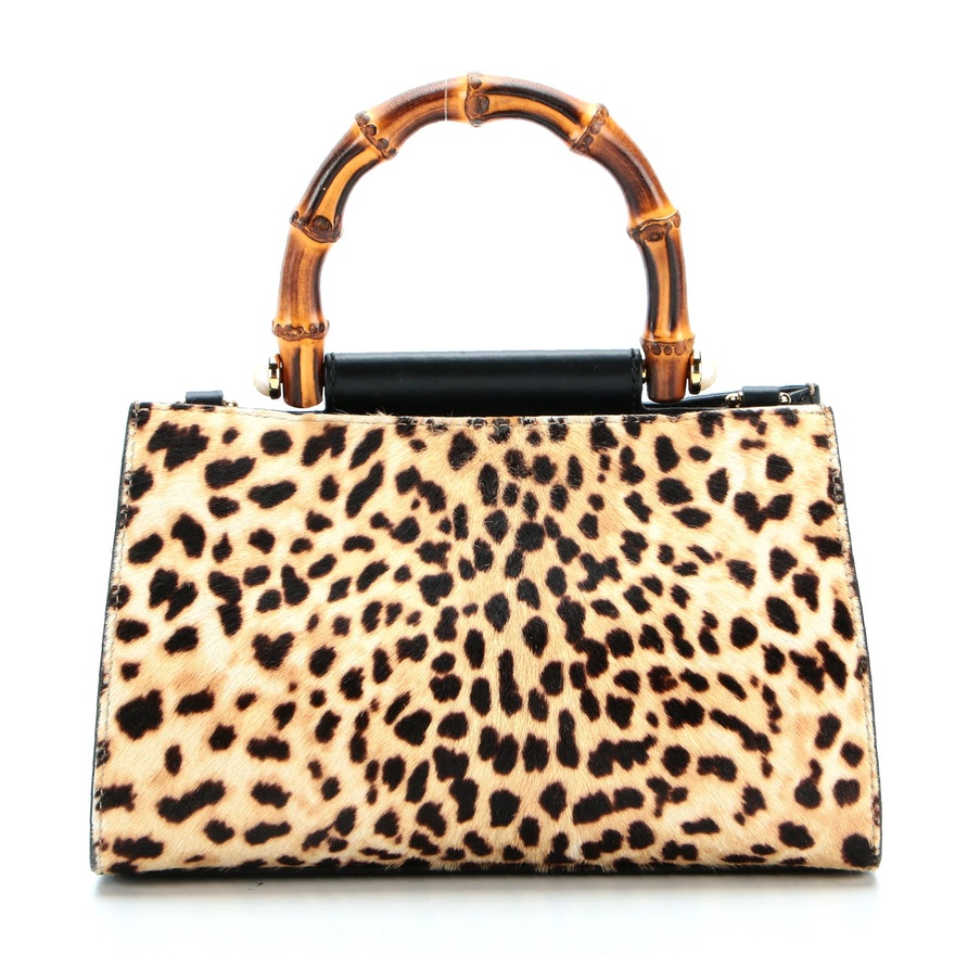 Gucci Nymphaea Mini Top Handle Bag in Printed Calf Hair with Bamboo Handle
