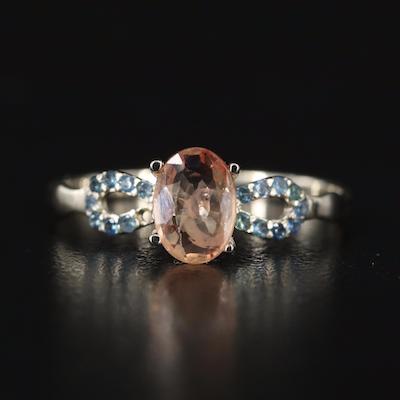 14K Sapphire Ring with Openwork Shoulders