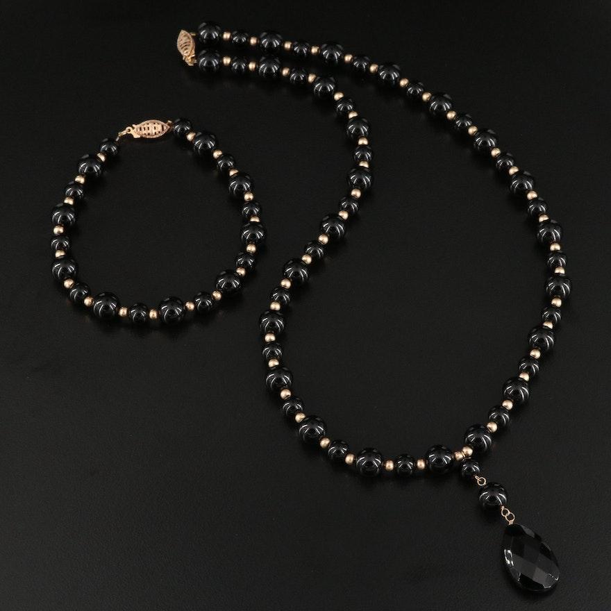 10K Black Onyx Beaded Necklace and Bracelet Set