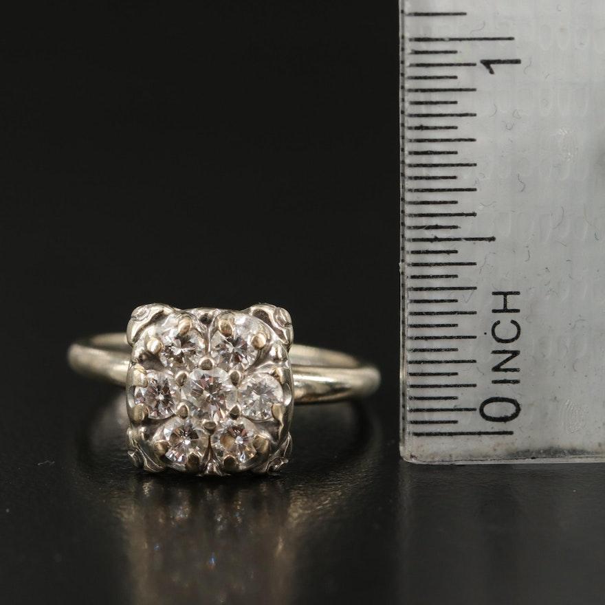 Vintage 14K 0.76 CTW Diamond Cluster Ring