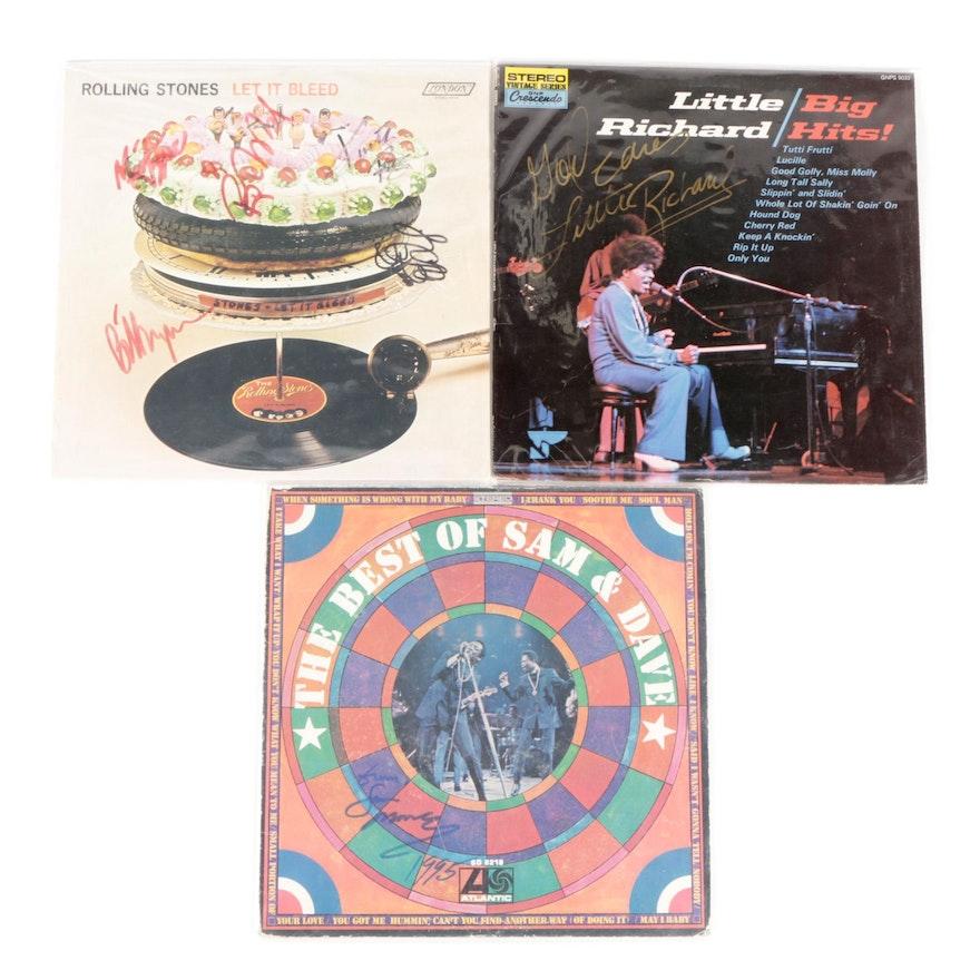 The Rolling Stones, Little Richard, Sam & Dave Signed Vinyl LP Records