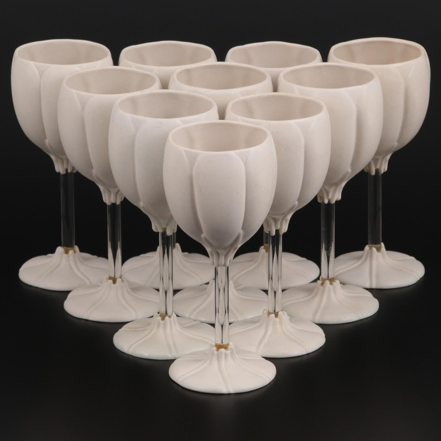 Newman Ceramic Works Pottery and Glass Wine Glasses