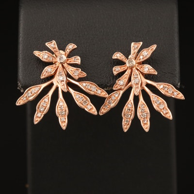 14K Rose Gold 0.37 CTW Diamond Floral Earrings with Enhancers