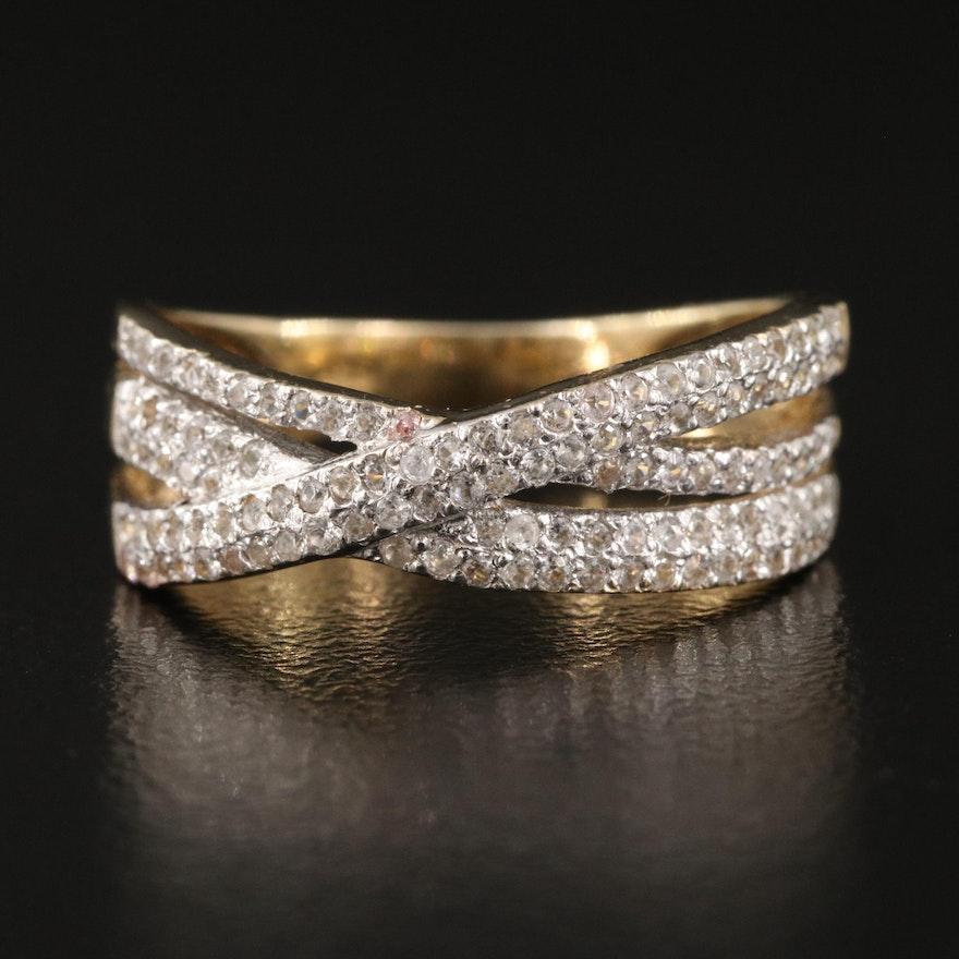 Sterling Silver Zircon Crossover Ring