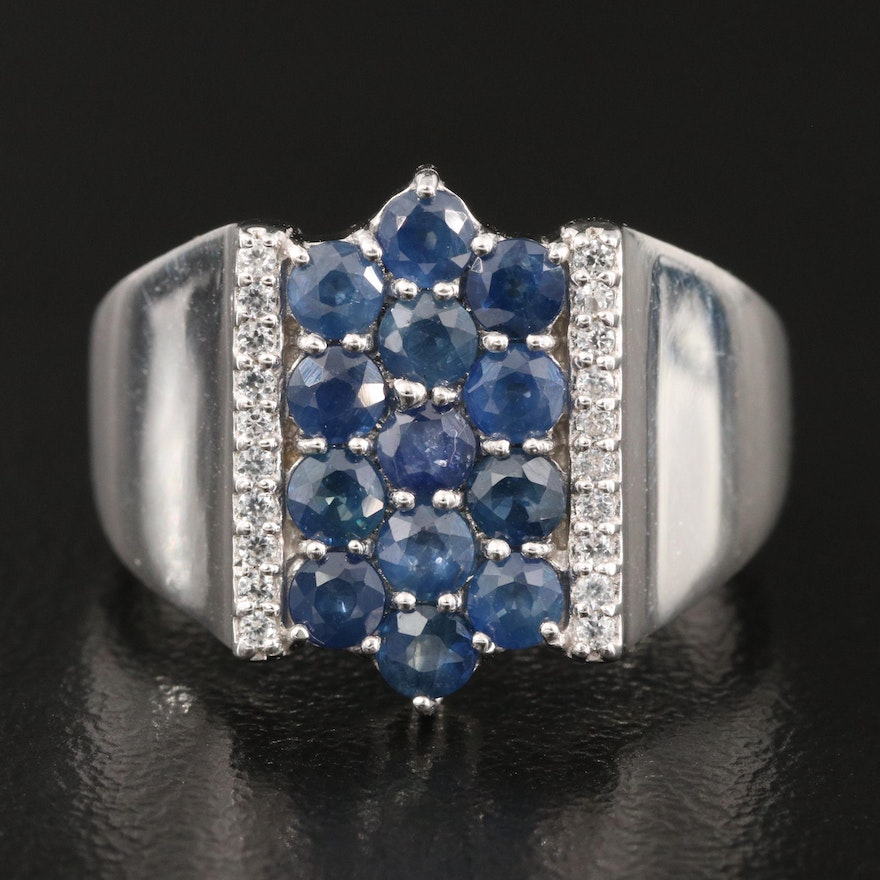 Sterling Silver Sapphire and Zircon Ring
