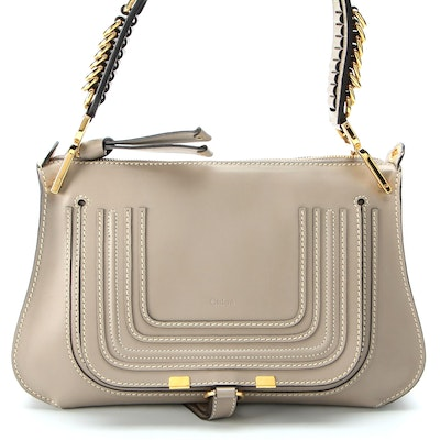 Chloé Marcie Saddle Two-Way Bag in Grey Leather