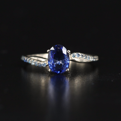 14K Sapphire Ring with Wave Shoulders