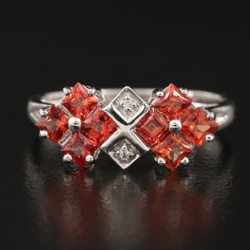 Sterling Silver Andesine and Zircon Ring