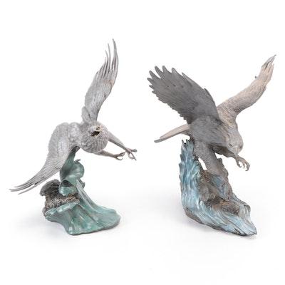 Paul Brunelle for Franklin Mint Pewter Sculptures of the Bald Eagles