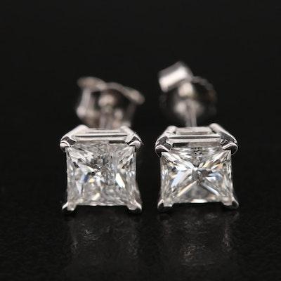 14K 1.26 CTW Diamond Solitaire Stud Earrings