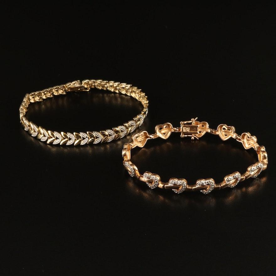 Sterling Diamond Hearts and Laurel Bracelets