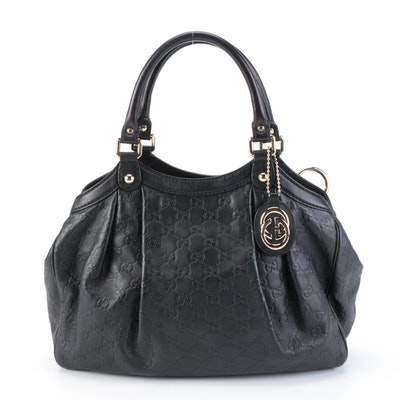 Gucci Sukey Handbag in Black Guccissima Leather