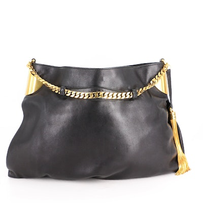 Gucci 1970 Hobo Bag in Black Leather with Chain Strap