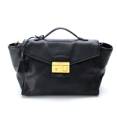 Prada Black Daino Leather Two-Way Bag