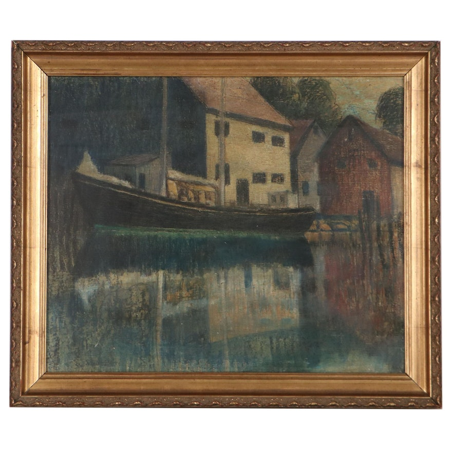 Harold Saxton Burr Pastel Drawing of View of Boathouses, Early 20th Century