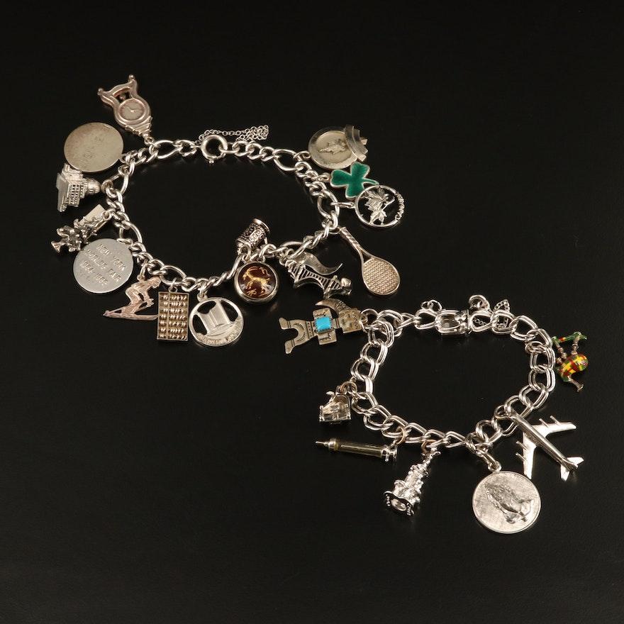 Vintage Sterling and 800 Silver Enamel Charm Bracelets