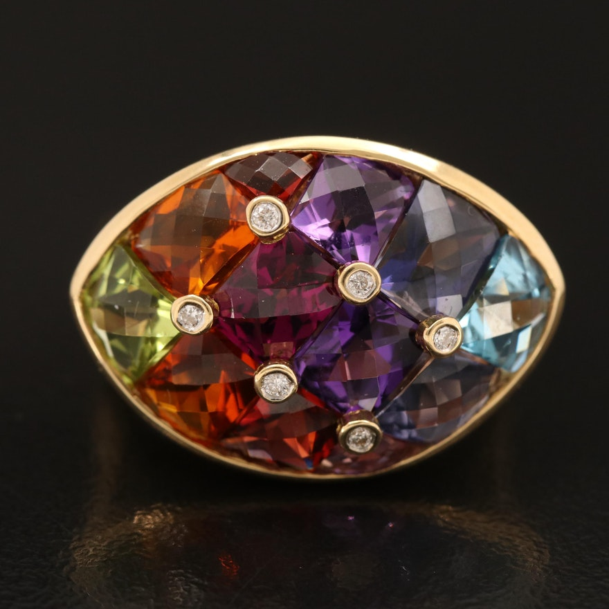 Quilt of Mixed Gemstone 14K Ring with Diamond Accents