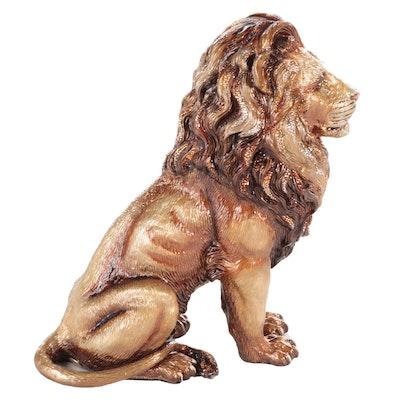 Jay Strongwater Rhinestone Embellished Enameled Lion Figurine