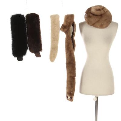 Mink Fur Cloches, Scarf, Trim Piece and Fox Fur Headbands