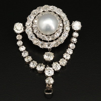 Belle Époque Platinum, 14K and 18K Pearl and 13.12 CTW Diamond Converter Brooch