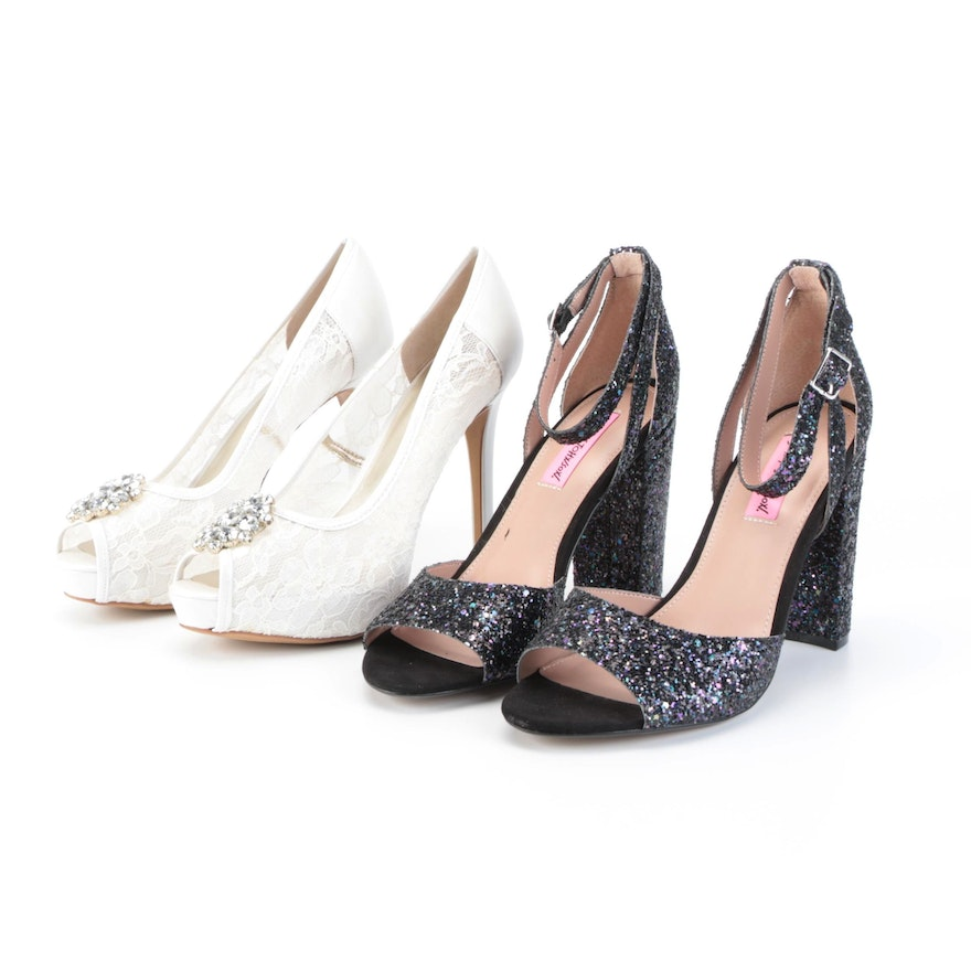 Betsey Johnson Glissten Ankle Strap Heels and Guess Hotspot Pumps with Boxes