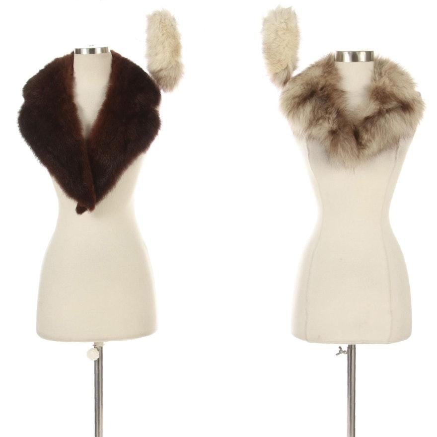 Dyed Australian Possum Fur Collar and Fox Fur Collar and Cuffs