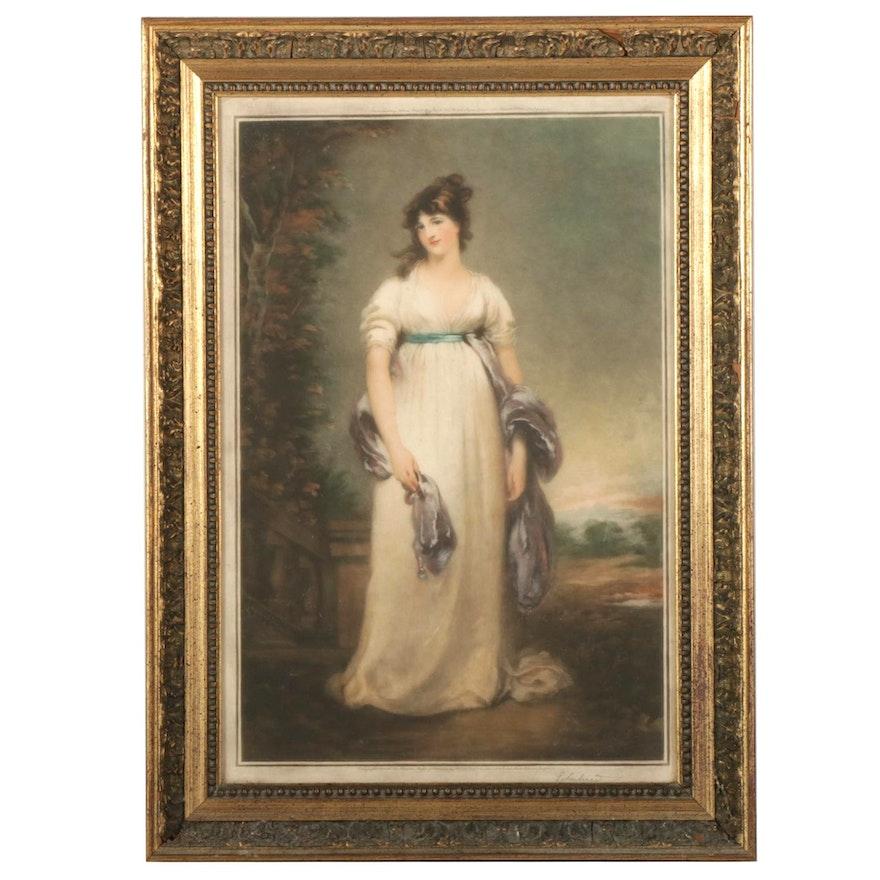 Alfred Bell & Co. Mezzotint of Regency Aristocrat Portrait, Circa 1925