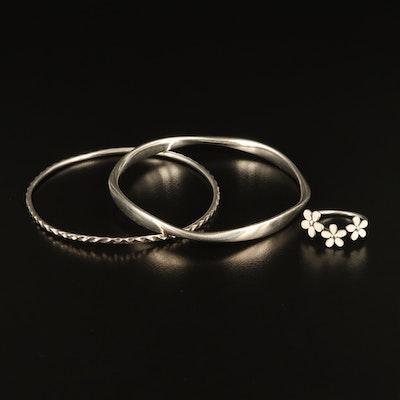 Pandora Sterling Bangles and Enamel Flower Ring
