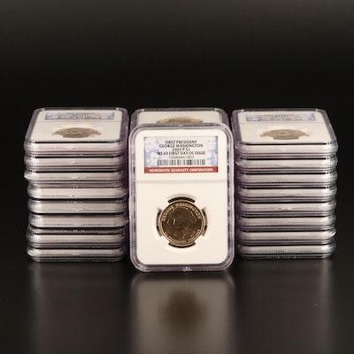 Twenty-Five 2007-P NGC Graded MS65 Washington Presidential Dollars