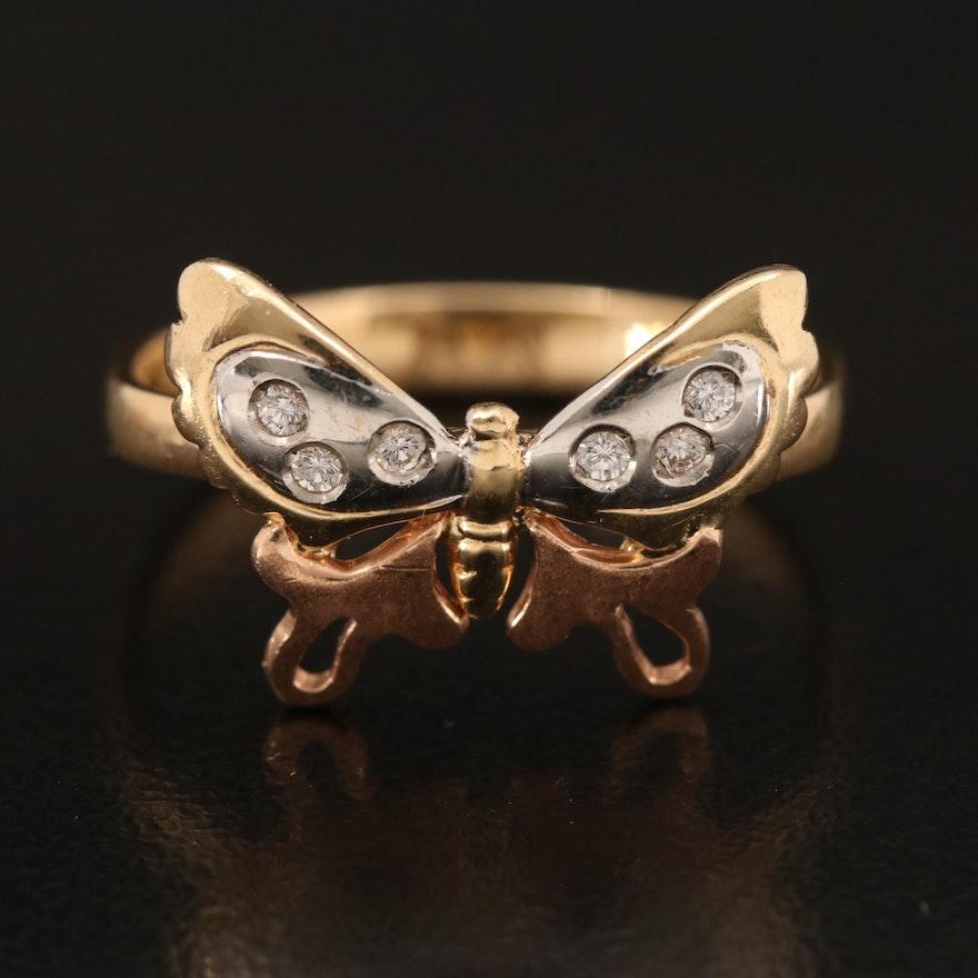 14K Cubic Zirconia Butterfly Ring