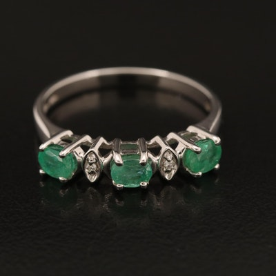 10K Emerald and Diamond Band