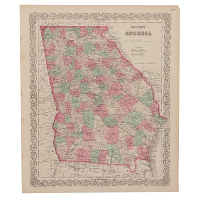 Hand-Colored Engraving Map of Georgia After G. W. & C. B. Colton