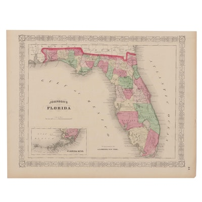 Hand-Colored Engraving Map of Florida After A.J. Johnson