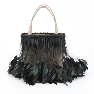 Moo Roo of Charleston Plume Embellished Handbag