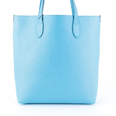 Burberry Remington Tall Tote in Neon Blue Grained Leather