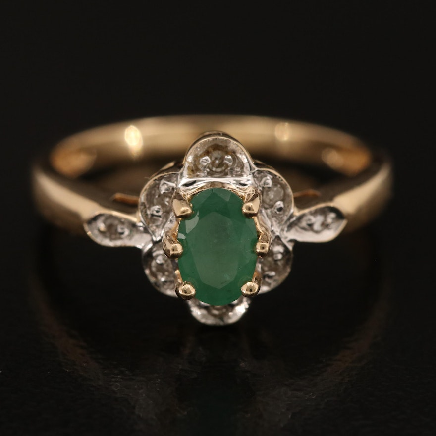 14K Emerald and Diamond Ring with Scalloped Edges