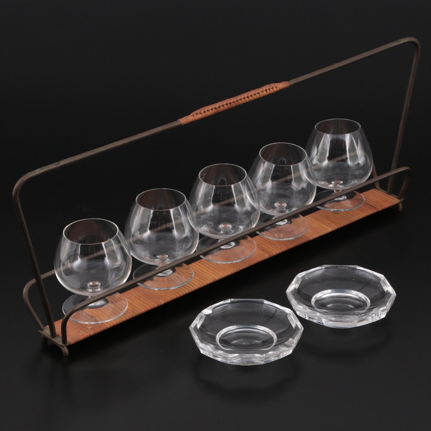 Val St. Lambert Crystal Ashtrays with Glass Brandy Sniffers and Caddy
