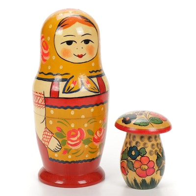 Hand-Painted Russian Nesting Doll and Mushroom