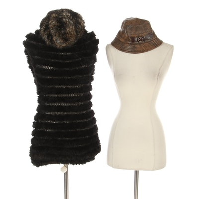 Knitted Rabbit Fur Hat and Knitted Muskrat Long Vest with Leather Bucket Hat