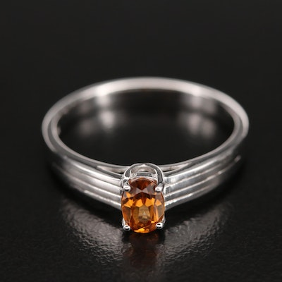 Sterling Zircon Solitaire Ring
