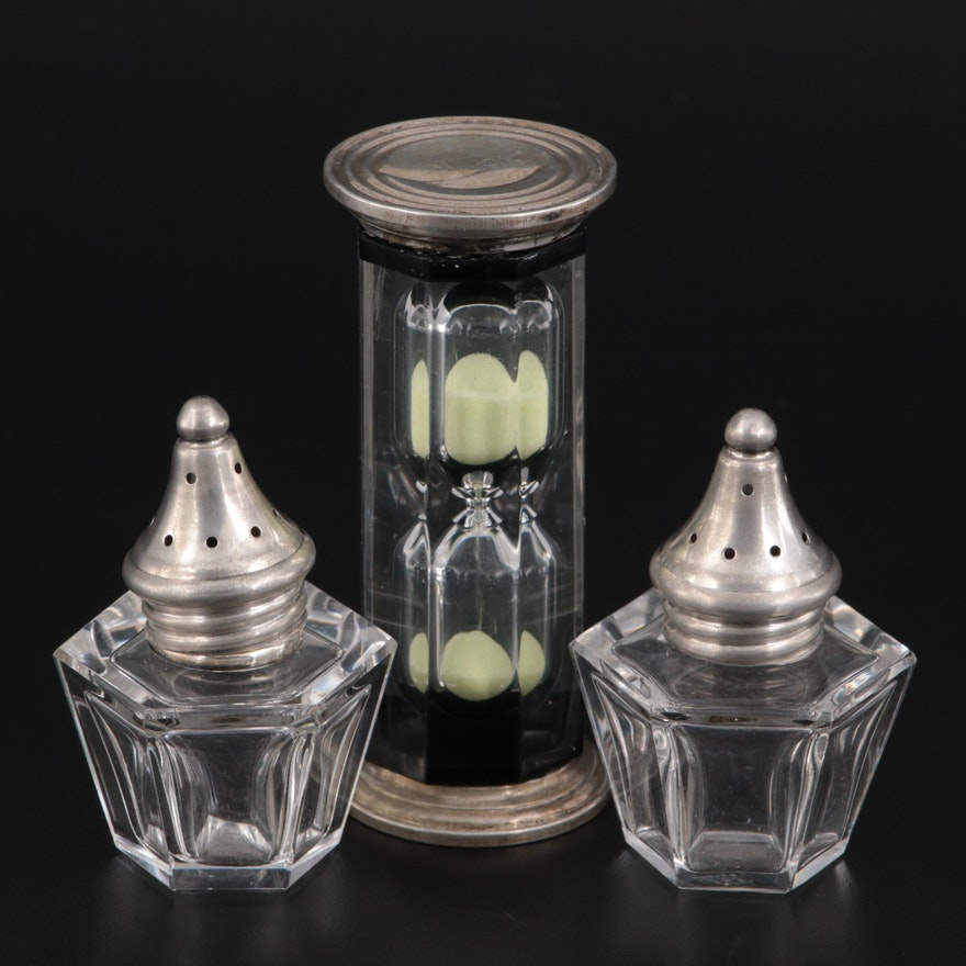 Hawkes Crystal Shakers with Sterling Silver Lids and Other Hourglass