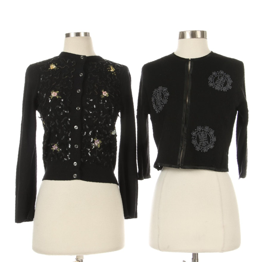 Moores and Other Embellished Black Knit and Cashmere Cardigans
