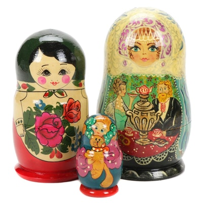 Three Sets of Hand-Painted Russian Matryoshka Nesting Dolls