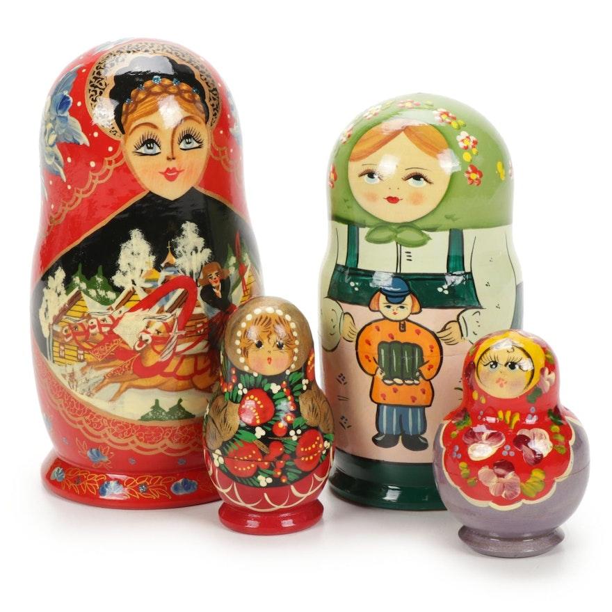 Four Sets of Hand-Painted Russian Matryoshka Nesting Dolls