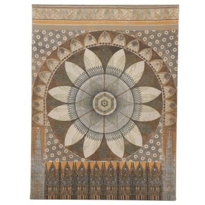 Printed Burlap Decorative Panel, Late 20th Century