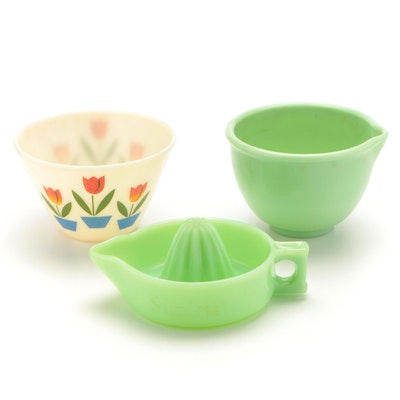 Fire King Tulip Mixing Bowl with Sunkist Jadeite Juicer and Spouted Bowl