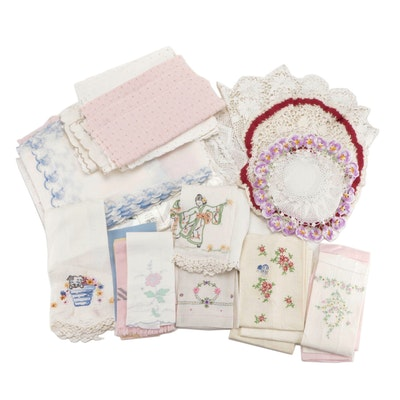 Embroidered and Hand Crocheted Tea Towels, Runners, Doilies and Table Linens