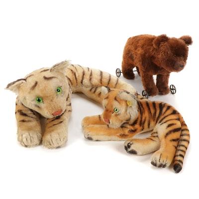 Steiff Stuffed Tigers and Small Bear on Wheels, Mid-20th Century