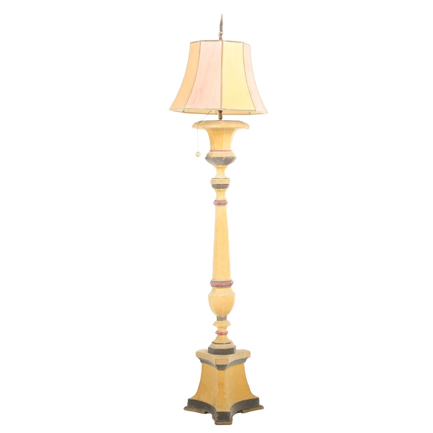 Velvet Covered French Wired Church Floor Candlestick Lamp, Early/Mid 20th C